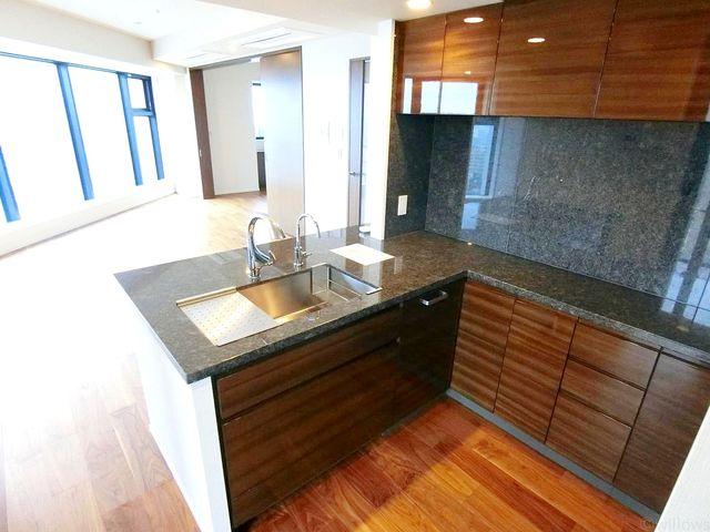 システムキッチンは黒を基調としたシンプルモダンなデザイン