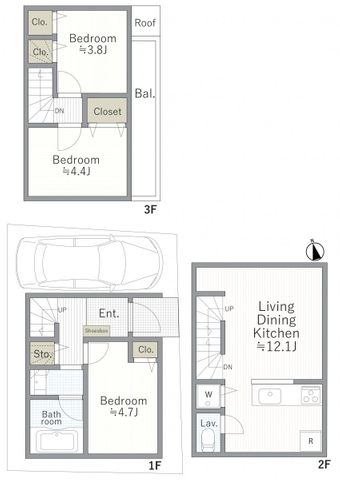 車庫付き3LDK、3階建建築可能でファミリーにおすすめです。