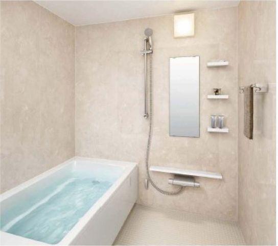 浴室イメージ一日の疲れを癒すバスルームは、おしゃれなアクセントクロス採用です!