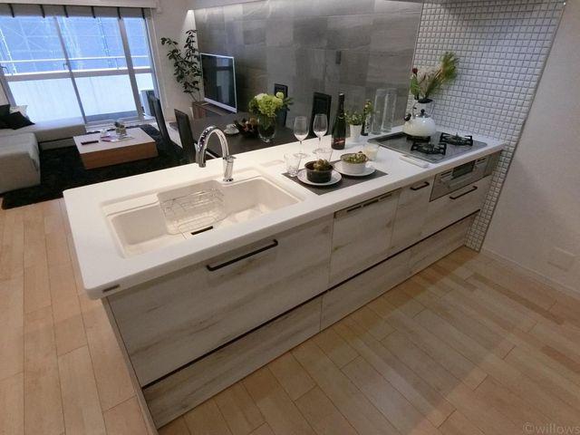 リビングを見渡しながら調理ができるカウンターキッチン。食洗機も付いて洗い物が楽々すみます。