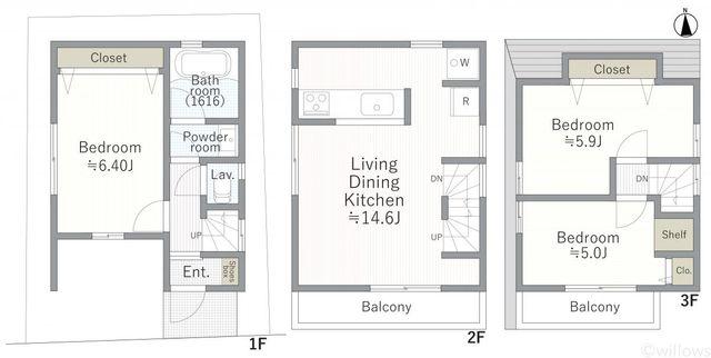 3階建3LDKプラン有。お気軽にお申し付けください。