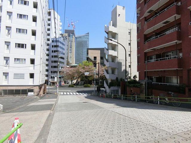 前面道路はかなり広く、歩道も整備されています。建物の向かい側はお寺なので陽当たりもしっかりとれます。