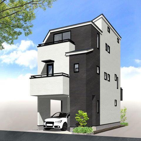 車庫付き・3階建て・95平米の4LDK、ご家族の新しいお住まいにぴったりです。