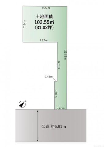 区画図です。敷延になっており前面道路は約6.91mです。