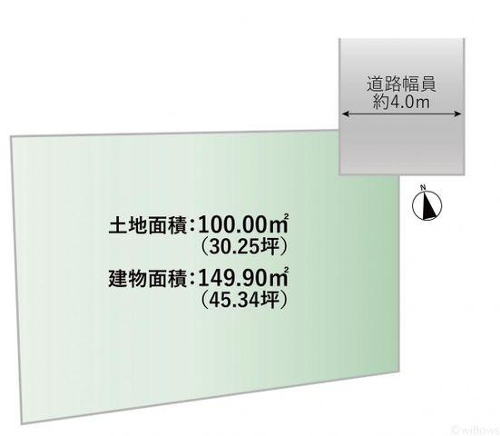 区画図です。土地面積100.00m2、建物面積149.90m2、道路幅員約4.0mです。