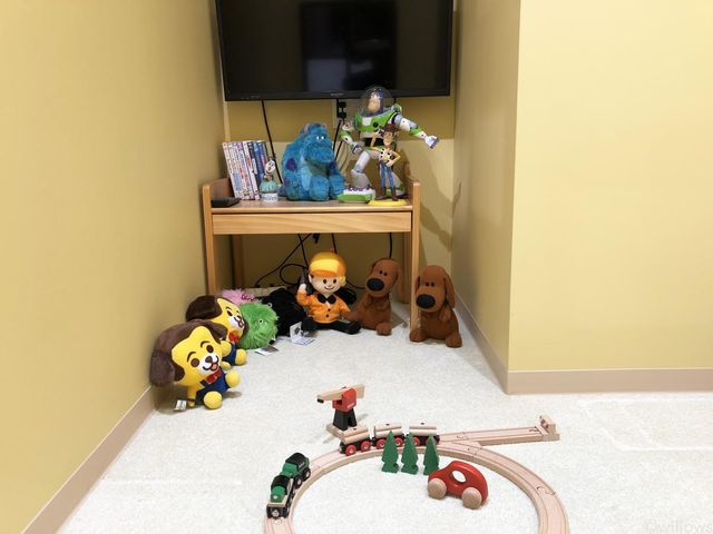 お子様とご一緒でも安心してご相談ができるよう、接客テーブルの側にキッズルームをご用意しました。おもちゃやDVDもご用意しています。