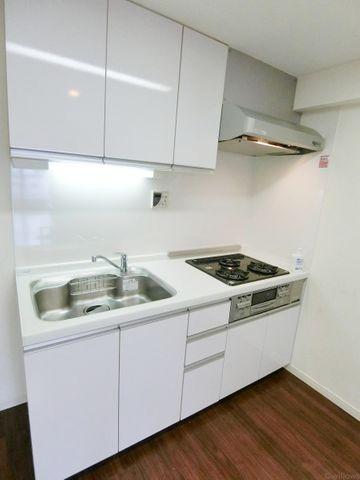 掃除のしやすいシステムキッチンでございます。