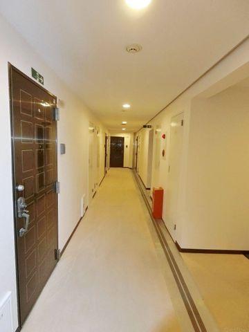 暑い夏や寒い冬に嬉しい、内廊下設計です。まるでチョコレートのようなレトロな玄関ドアもかわいいですね。