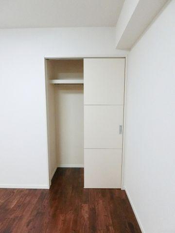 居室収納部分。ハンガーパイ付きで季節もののお洋服も収納可能でございます。お掃除用具などの大きなものもこちら。