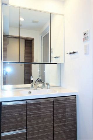 三面鏡ならではの収納力、シャンプードレッサーならではの機能性、どちらも採用しております。汚れが落ちやすいすべり台ボウルは手入れもしやすく、日々の生活を陰ながら支えてくれる仕様となっております。