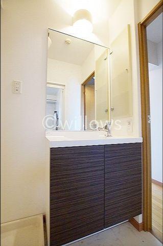 朝・夜に大活躍のスペース。三面鏡の独立洗面台だけでなく、脱衣所をアレンジ。