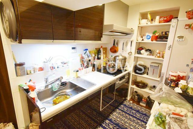 食洗機付きのシステムキッチンです。キッチンの奥には、食品のストックや調味料などが置ける可動棚がございます。浄水機能付きシャワー水栓はノズルが伸びてお掃除もらくらくです。